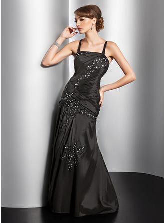 A-Linie/Princess-Linie Bodenlang Abendkleider mit Rüschen Perlstickerei Applikationen Spitze