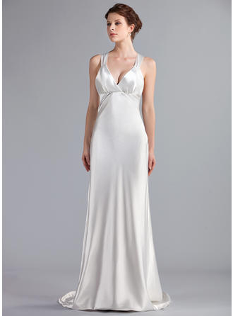 Delicate Sweep Train Empire Wedding Dresses Sweetheart Charmeuse Sleeveless