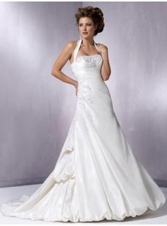 A-Line/Princess Halter Court Train Wedding Dresses With Lace Beading