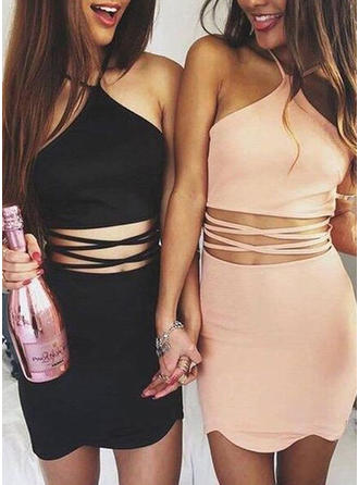Sheath/Column Halter Short/Mini Satin Cocktail Dresses
