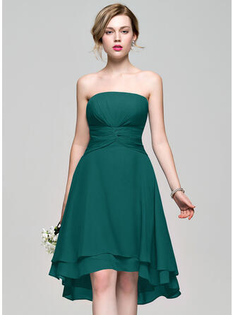 A-Line Strapless Asymmetrical Chiffon Bridesmaid Dress
