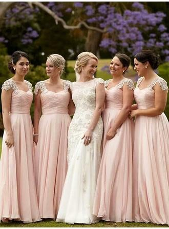 Chiffon Sleeveless A-Line/Princess Bridesmaid Dresses Sweetheart Beading Appliques Lace Sequins Floor-Length