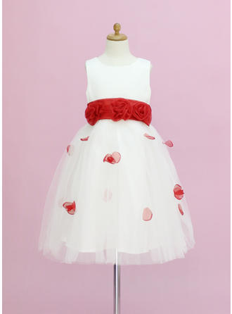 A-Line/Princess Scoop Neck Ankle-length With Sash/Flower(s)/Bow(s) Organza/Satin/Tulle Flower Girl Dress