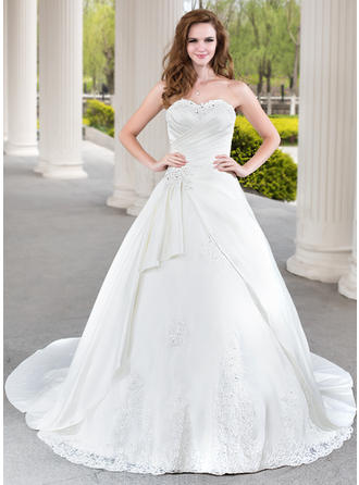 Ball-Gown Sweetheart Chapel Train Satin Wedding Dress With Beading Appliques Lace Cascading Ruffles