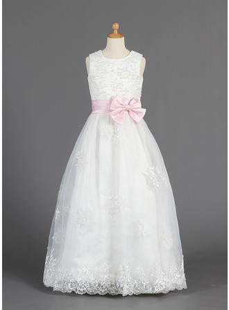 A-Line/Princess Scoop Neck Floor-length With Lace/Sash/Beading/Bow(s) Organza/Satin Flower Girl Dress