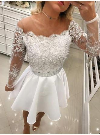 A-Line/Princess Lace Beading Homecoming Dresses Off-the-Shoulder Long Sleeves Short/Mini