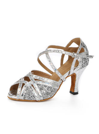 Women's Latin Heels Sandals Sparkling Glitter With Ankle Strap Dance Shoes