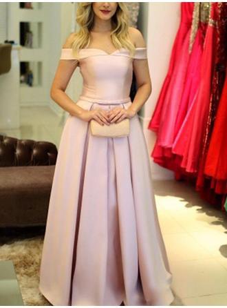 A-Linie/Princess-Linie Off-the-Schulter Bodenlang Abendkleider mit Rüschen