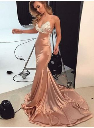 Trumpet/Mermaid Charmeuse Prom Dresses Glamorous Sweep Train V-neck Sleeveless
