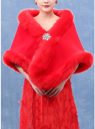Shawl Wedding Faux Fur Red Wraps