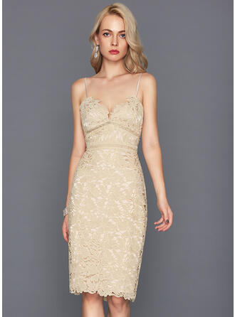 Sheath/Column Lace Homecoming Dresses V-neck Sleeveless Knee-Length