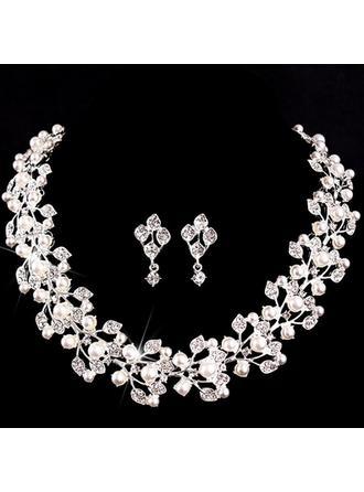 Lysande Legering/Imitationer av Naturpärlor med Österrikiska Kristall Damer' Smycken Sets