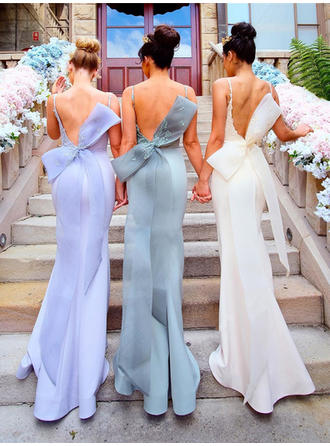 Trumpet/Mermaid Scoop Neck Sweep Train Satin Bridesmaid Dress With Appliques Lace Bow(s)