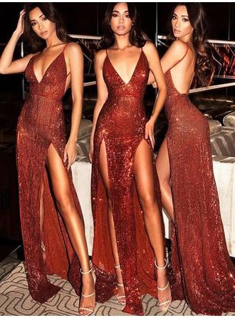 Sequined Sleeveless Sheath/Column Prom Dresses V-neck Split Front Sweep Train