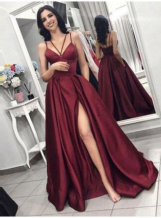 Stunning Satin Prom Dresses A-Line/Princess Sweep Train Sleeveless