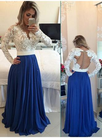 Chiffon Long Sleeves A-Line/Princess Prom Dresses V-neck Beading Sequins Floor-Length