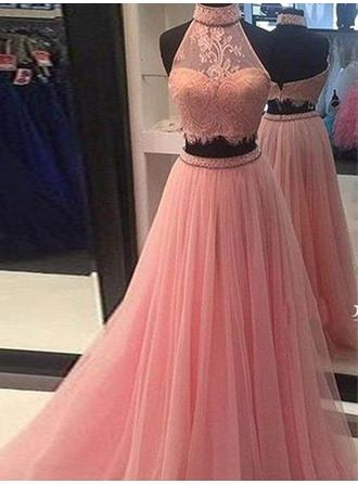 Tulle Sleeveless A-Line/Princess Prom Dresses High Neck Lace Floor-Length
