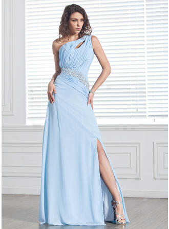 Chiffon Sleeveless A-Line/Princess Prom Dresses One-Shoulder Ruffle Beading Split Front Sweep Train