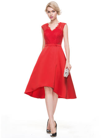 A-Line/Princess V-neck Asymmetrical Satin Homecoming Dresses