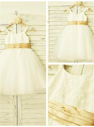 A-Line/Princess Straps Knee-length With Lace Tulle Flower Girl Dresses