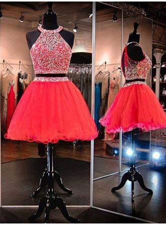 A-Line/Princess Scoop Neck Sleeveless Short/Mini Beading Homecoming Dresses