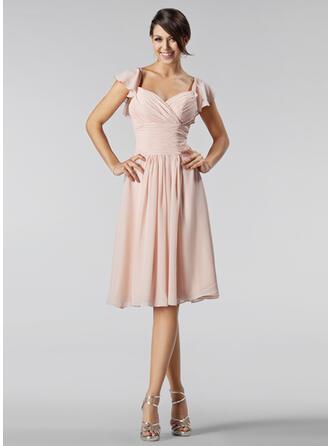 A-Line/Princess Sweetheart Knee-Length Chiffon Bridesmaid Dress With Beading Cascading Ruffles