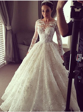 Ball-Gown Scoop Chapel Train Lace Wedding Dresses