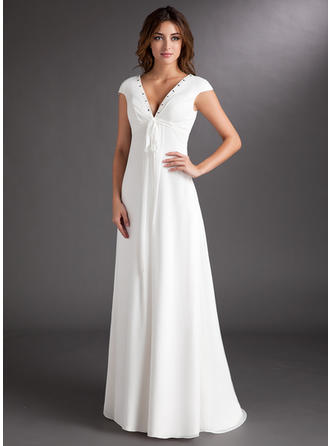 Simple Sweep Train A-Line/Princess Wedding Dresses Sweetheart Chiffon Short Sleeves