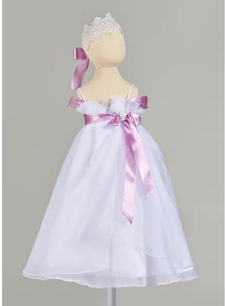 A-Line/Princess Straps Floor-length Tulle Christening Gowns With Lace