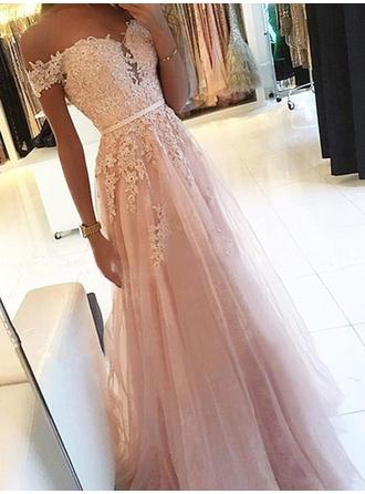 A-Line/Princess Off-the-Shoulder Tulle Sleeveless Floor-Length Sash Appliques Lace Evening Dresses