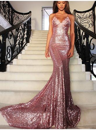 Sequined Sleeveless Trumpet/Mermaid Prom Dresses V-neck Court Train (018146576)