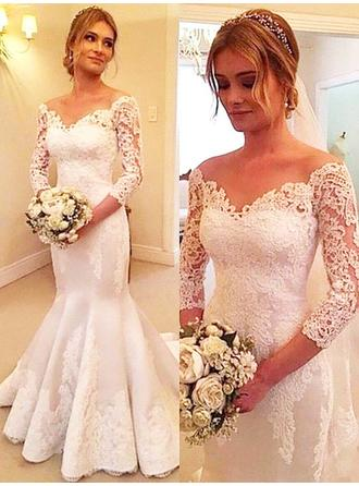 Sweetheart Court Train Trumpet/Mermaid Wedding Dresses Off-The-Shoulder Tulle 3/4 Length Sleeves