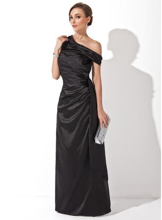 Sheath/Column Off-the-Shoulder Floor-Length Evening Dresses With Ruffle