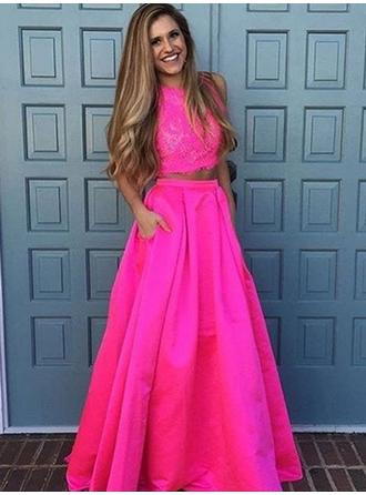 A-Line/Princess Scoop Neck Floor-Length Detachable Prom Dresses With Lace