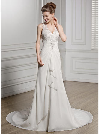 A-Line/Princess V-neck Chapel Train Chiffon Wedding Dress With Beading Appliques Lace Sequins Cascading Ruffles (002056587)
