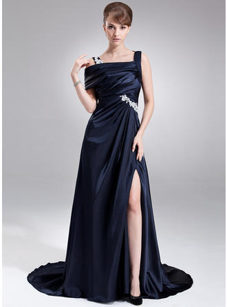 A-Line/Princess Off-the-Shoulder Sweep Train Prom Dresses With Ruffle Appliques Lace Split Front
