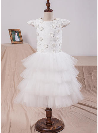 A-Line/Princess Scoop Neck Tea-length With Flower(s) Tulle/Lace Flower Girl Dresses