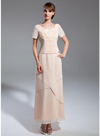 Chiffon Short Sleeves Mother of the Bride Dresses Scoop Neck A-Line/Princess Beading Ankle-Length