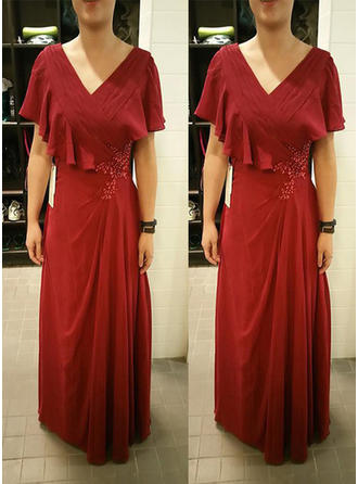 A-Line/Princess V-neck Floor-Length Mother of the Bride Dresses With Beading