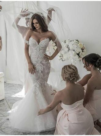 Trumpet/Mermaid Off-The-Shoulder Chapel Train Wedding Dress With Embroidered