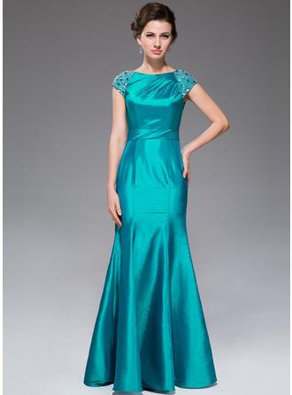 Trompete/Meerjungfrau-Linie U-Ausschnitt Taft Kurze Ärmel Bodenlang Rüschen Perlstickerei Kleider für die Brautmutter