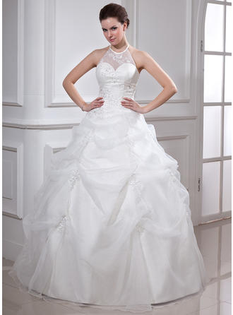 Ball-Gown Halter Floor-Length Organza Prom Dress With Ruffle Beading Appliques Lace