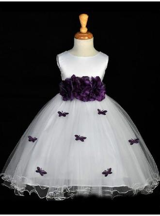 Scoop Neck Ball Gown Flower Girl Dresses Satin Sash/Flower(s)/Bow(s) Sleeveless Tea-length