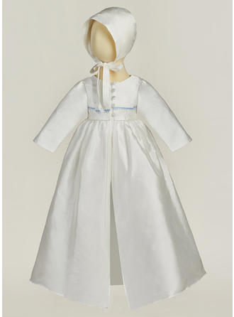 Satin V-neck Baby Girl's Christening Gowns With Long Sleeves