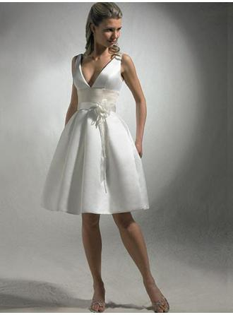 Empire V-neck Knee-Length Wedding Dresses With Sash Flower(s)