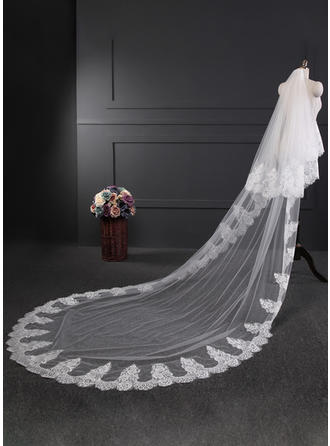 Two-tier Lace Applique Edge Cathedral Bridal Veils With Applique (006120947)