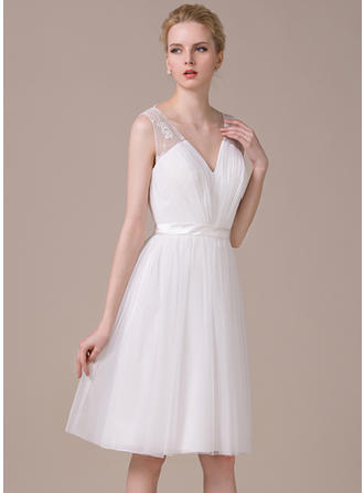 Sweetheart A-Line/Princess Wedding Dresses Tulle Ruffle Lace Bow(s) Sleeveless Knee-Length