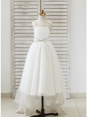 A-Line/Princess Asymmetrical Flower Girl Dress - Tulle Sleeveless Straps With Lace/Rhinestone