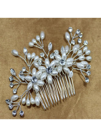 Beautiful Crystal/Imitation Pearls Combs & Barrettes (Sold in single piece)