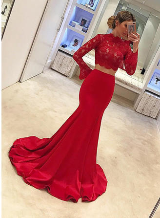 2019 New Satin Evening Dresses Trumpet/Mermaid Sweep Train Scoop Neck Long Sleeves